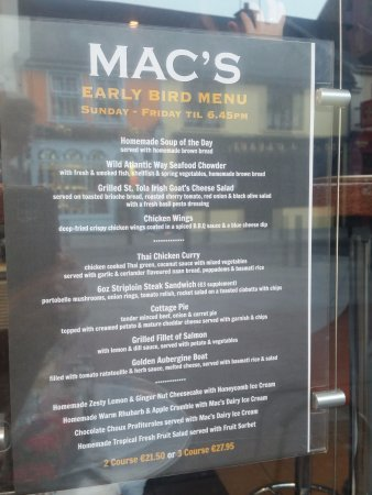 Mac's of Main Street : Menu