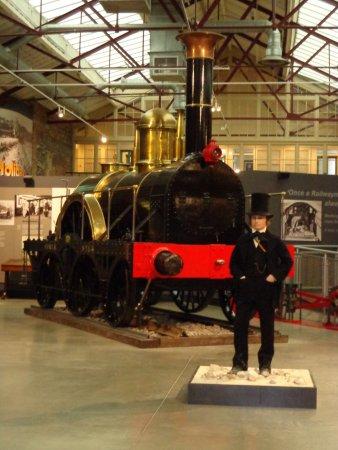 Swindon, UK: Brunel with one of his broad gauge locomotives