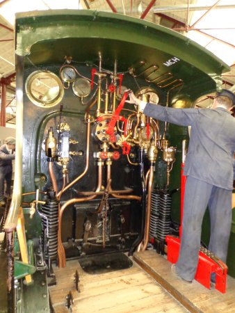 Swindon, UK : The complexity of later steam loco cabs