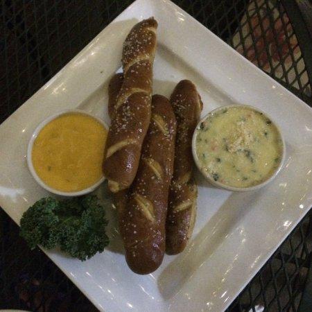 Lee's Summit, MO: Warm soft pretzels with dip options; side house salad; Cuban sandwich
