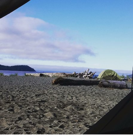 Port Renfrew, Canada: We woke up to this view from our tent!