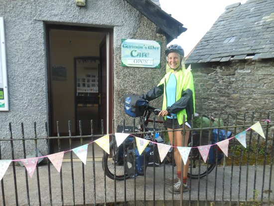 Rhayader, UK: Cycling cartoonist and worldwide adventurer Tegan Phillips visits the cafe on her tour of Wales