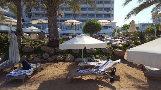 Sunrise Beach Hotel: solstolar på stranden