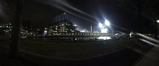 AT&T Park: Giants Stadium at night and a view of the Bay