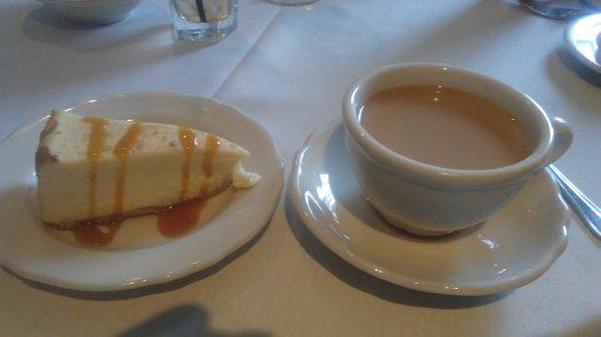 Cheesecake and coffee at Cock 'n Bull in Lahaska