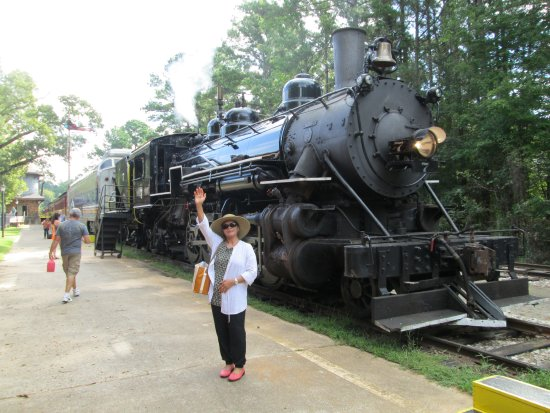 Rusk, TX: My wife standing in front of the engine