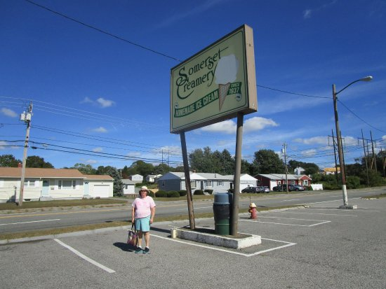 That is me standing next to the Somerset Creamery sign.