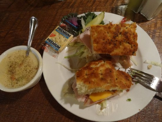 Prineville, OR: Turkey Bacon Club sandwich and clam chowder