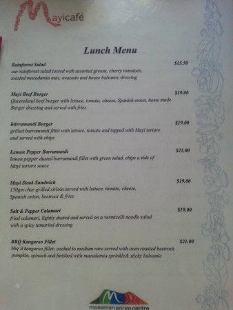 Mossman, Australia: Lunch menu #1