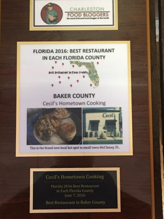 Macclenny, FL: Award for Best Restaurant in Baker County for 2016