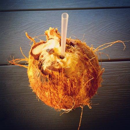 Giovanni's Shrimp Truck : Coconut water.
