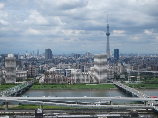 Edogawa, Japan: 無料でこの光景が見られます。スカイツリーも真正面。