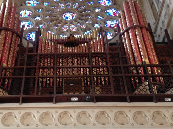 Arundel, UK: Organ bellows and stain glass windows