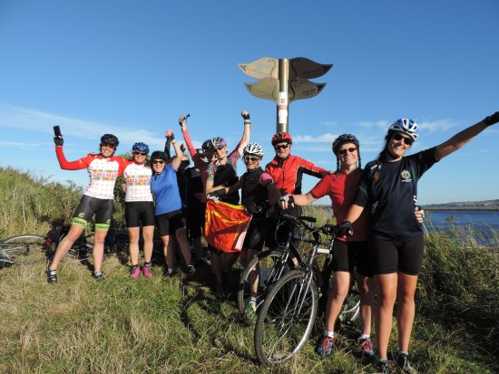 Penrith, UK: Celebrating at the finish of the Coast to Coast route
