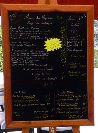 Monbazillac, فرنسا: Les menus et la carte