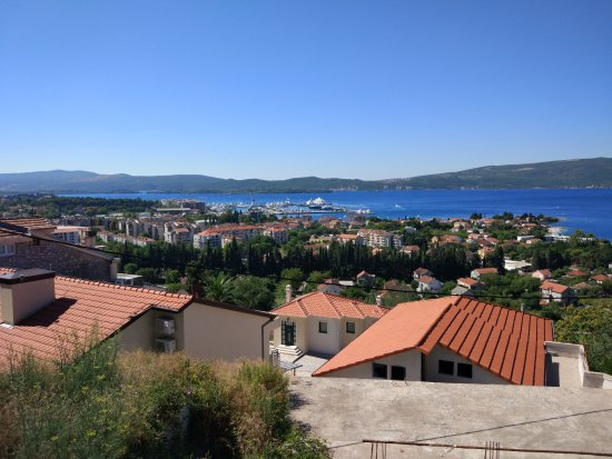 Sight view of Tivat. Far on the coast is port of Montenegro