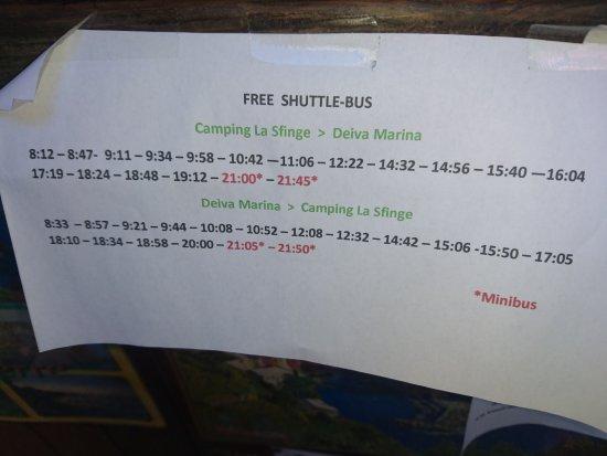 Camping La Sfinge : Bus schedule