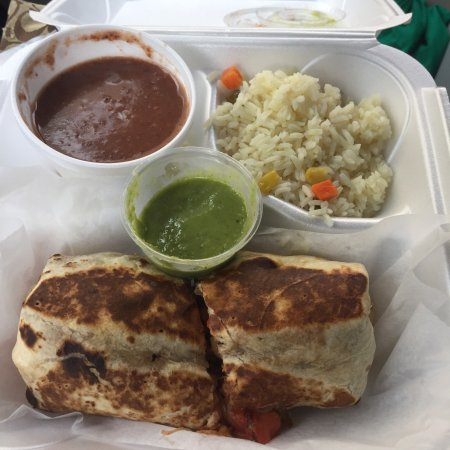 Oakland Park, Flórida: Chipotle chicken burrito with rice and beans and salsa verde