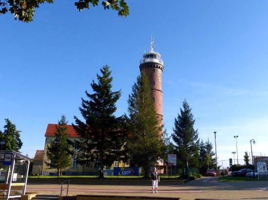 Jaroslawiec, Polen: Leuchtturm gegenüber vom Hotel