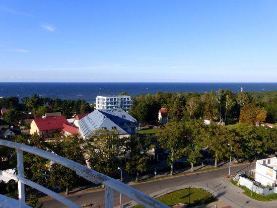 Jaroslawiec, โปแลนด์: Blick auf das Hotel vom Leuchtturm aus