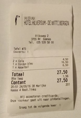 Eemnes, Holland: Receipt