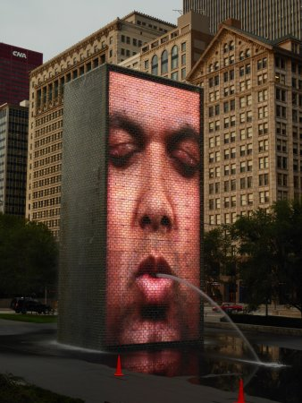Crown Fountain: South Side spewing water