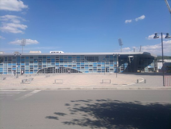 The fasade of Elbasan Arena.