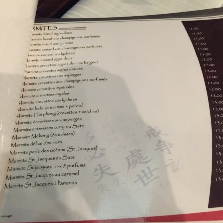 Asia Restaurant : Menu