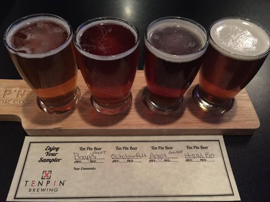Flight of local beer by TENPIN Brewery in Moses Lake,WA at Papa's Sports Lounge