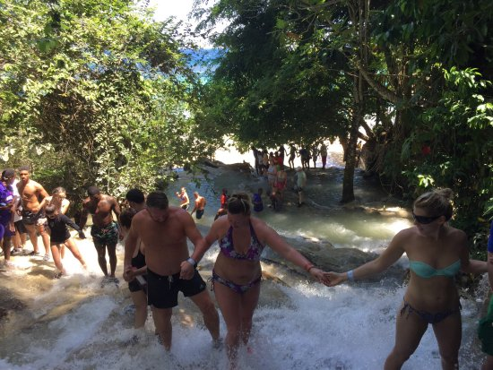 Dunn's River Falls and Park: Human chain helping each other climb!