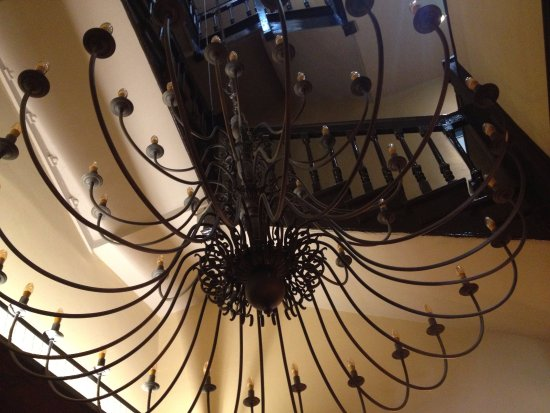 Yorkshire, UK: Antique chandelier is glorious when lit