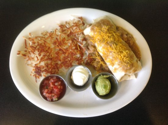 Midvale, UT: Breakfast Burrito with homemade chili verde, delicious