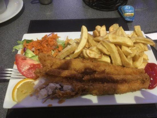 Woodbridge, UK: Large Rock Eel and chips.