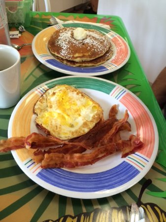 Juno Beach, FL: Blueberry Pancakes with eggs and bacon