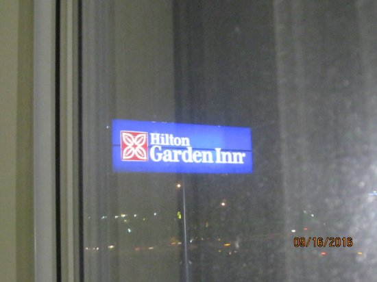 Hilton Garden Inn Greensboro: sign frm window room 410