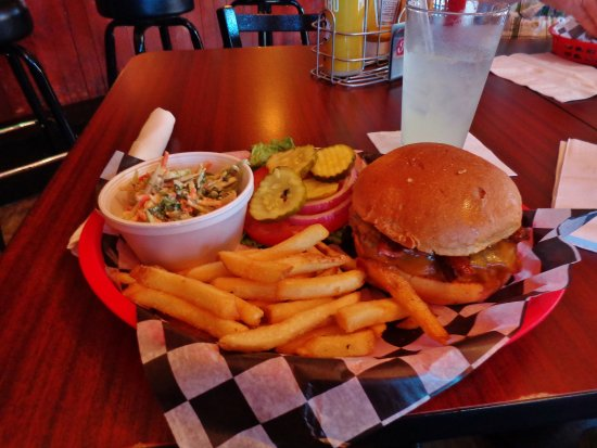 Alpena, MI: A western burger, fries, and cole slaw.