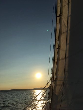 Camden, ME: A breathtaking sunset on Schooner Surprise
