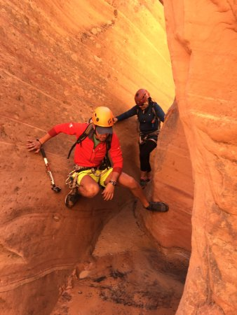 Springdale, UT: Kevin demonstrating us how to navigate the canyon!