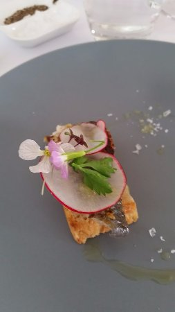 Port Willunga, ออสเตรเลีย: Soused Coorong mullet, miso, grilled sourdough, radish