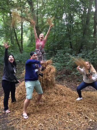 Elstree, UK: Treasure Hunt challenges in the forest.