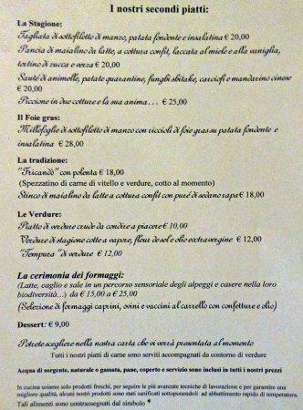 Gignod, Italien: Il menù dei secondi piatti