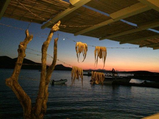 Agios Georgios, Grekland: la vue de la taverne de PIPINOS