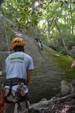 Rock Dimensions Climbing Guides: Our guide belaying our son.