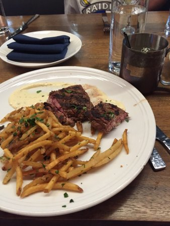 Fairfax, VA: Grilled swordfish; crispy lamb shoulder (best dish); steak-frites (don't bother)