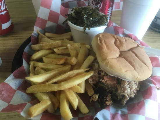 Chesterfield, VA: BBQ Pork Sammich, fries and Collard Greens