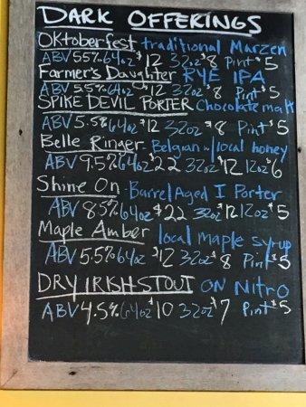 Chatham, นิวยอร์ก: Dark beers board