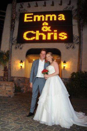 Viva Las Vegas Wedding Chapel The Newly Married Emma And Chris In Flashing Lights