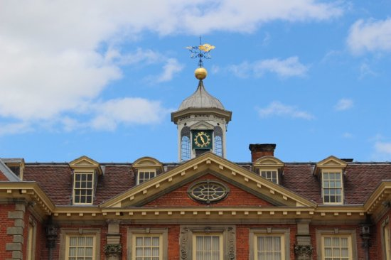 Worcester, UK: Hanbury Hall- Facade with clock and wind vane.