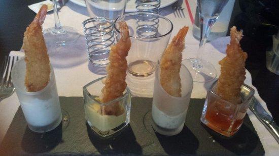 restaurant quay 911 crevettes panees 4 sauces differentes