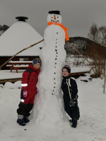 Laukvik, Norway: Winter activity, making this year's most beautiful snowman.